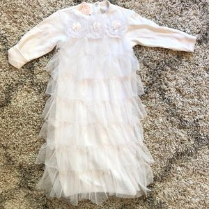 NWOT Baby Biscotti soft lacy ruffle receiving gown